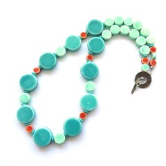 Circles green and terracotta and ceramic statement necklace
