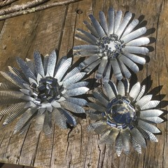 Rustic Garden Art Upcycled Flowers In A Set Of 3 Unique Unusual Birthday Gifts