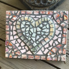 Mosaic Iridescent 3D Heart Wall Art Home Decor Unique Unusual One Of A Kind Gift