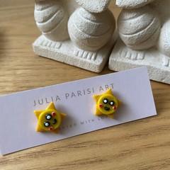 Little Yellow Stars - Kawaii Themed Handmade Polymer Clay Studs