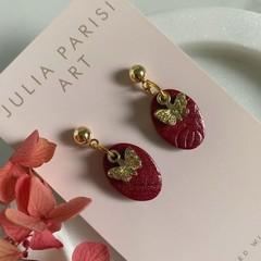 MINI BURGUNDY Handmade Drop Earrings with Butterfly Charm