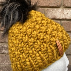 Knitted mustard beanie, mustard hat, mens beanie, ladies chunky mustard PomPom b