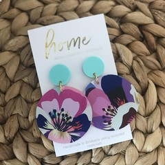 Recycled Pink Aqua Blue Purple Flower Floral Earrings  | Ecofriendly | Eco