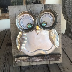 Rustic Elsie The Owl Garden Art Unique Unusual Upcycled One Of A Kind Gifts