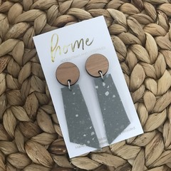 Recycled Grey Terrazzo Linoleum Laminate and Bamboo Dangle Earrings