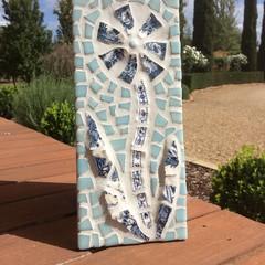 Mosaic Flower Plaque Garden Wall Art Home Decor Unique Unusual Gift