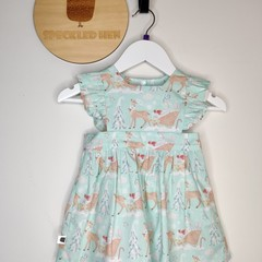 The Lilly Dress - Christmas Sleighs in Mint - Size 0