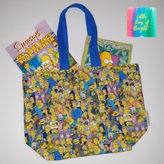 Simpsons, yellow family small kids tote bag/market shopper