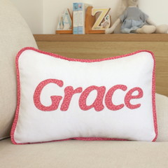 Floral name cushion in bright pink