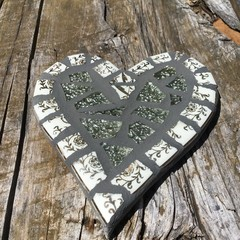 Gold Mosaic Heart Home Decor Unique Unusual One Of A Kind Valentine's Day Gift