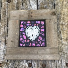Rustic Framed Mosaic 3D Mirrored Love Heart Unique Unusual Anniversary Gifts