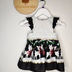The Lilly Dress - Reindeers with Gold Accents and Flutter Sleeves - Size 0