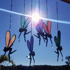 Stained glass sun catcher, little hanging pewter fairy with crystal