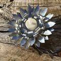 Rustic Set Of Two Metal Flower Tea Light Holders Home Garden Decor Unusual Anniv