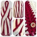 Crochet Scarf Dark pink and cream