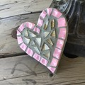 Mosaic Pink And Gold Heart Home Decor Unique Unusual One Of A Kind Gift