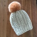 100% wool hand knitted Hale beanie with faux fur pom pom