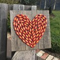 Rustic Bottle Cap Heart Upcycled Garden Art Unique Unusual One Of A Kind Gifts