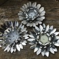 Rustic Garden Decor Set Of Three Small Rusty Flowers Unique Unusual Gifts