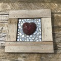 Rustic Home Decor Framed Mosaic 3D Love Heart Unique Unusual One Of A Kind Gift