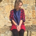 Bat sleeved red and blue top, women's oversized jumper, one size fits all, linen