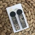 Recycled Grey Black Snake Animal Print Earrings Dangles