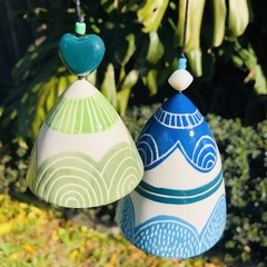 Blue and green  wind chime SET of 2