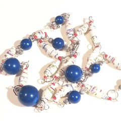 Necklace. Beaded necklace. Handmade paper beads and blue beads.