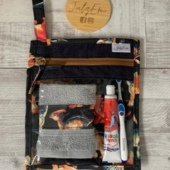 Travel pouch, dinosaur print, toiletry bag, kids travel pouch