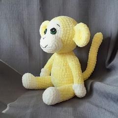 Hand crocheted velvet cheeky monkey