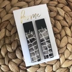 Recycled Grey Black Crocodile Animal Print Earrings Dangles