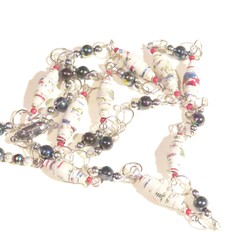 Necklace. Beaded necklace. Handmade paper bead white, red and blue beads.