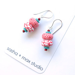 Big Swirl red coral and white polymer clay  beaded drop earrings