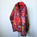 Beautiful Felted Scarf Wool Silk Art Felt Wrap Shawl Red