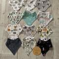 Bandana dribble bibs, print choices, woodlands, foxes, deer, boys baby shower