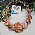 Sunset Sparkle Glitter  - Resin Button Necklace and Earrings