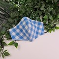 Blue Gingham - Face Cover (Mask) - 3 Layers - Unisex
