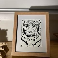 Original Hand Drawn Framed B&W TIGER Artwork