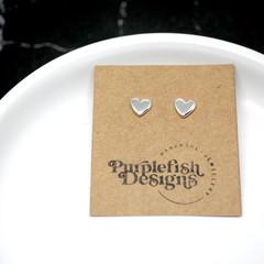 Sweetheart Studs  - Handmade Sterling Silver Love Heart Earrings