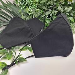 Black Plain - Face Cover (Mask) - 3 Layers - Unisex