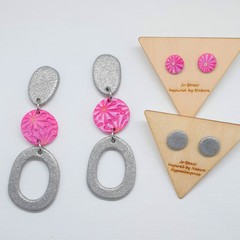 Silver and Magenta Dangles and Studs Pack