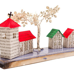 Tiny Town book sculpture - Tiny Town on a ceramic tile - Tiny Town with a church