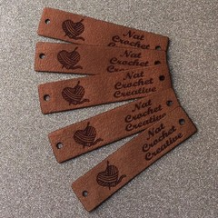 Knitting tags leatherette or faux suede
