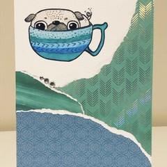 Pug in a mug card