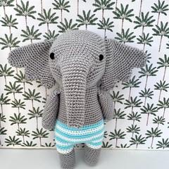 Crochet Elephant, READY TO POST, baby boy toy, personalised toy, elephant softie