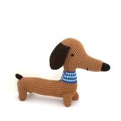 Crochet Dachshund, READY TO POST, crochet toy, baby boy toy, baby girl toy, pers
