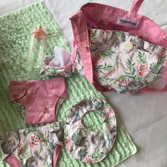 Nappy Bag and accessories for Baby Doll - Bilby print