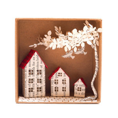 Tiny Town book sculpture - Tiny Town in a box - Book art