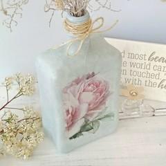 Handpainted & decoupaged glass bottle, pink roses on green chalk paint, glass v