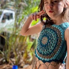 Crochet Mandala vest boho crop top - festival fringe top, child's mandala flower